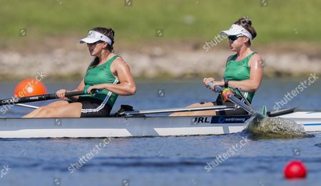 The Women's Pair team of Aileen Crowley (L) and Aifric Keoch (R) of Ireland compete in repechage heat during the 2017 World Rowing Championships at Nathan Benderson Park in Sarasota, Florida, USA, 27 September 2017. The regatta continues through 01 October.