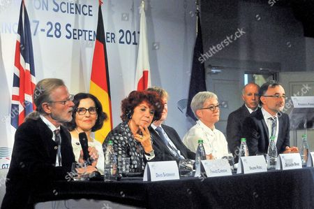 (L-R) David Shoemaker, France Cordova, Valeria Fedeli, Jo Van Den Brand, Frederique Marion and Giovanni Losurdo on the occasion of the ICT and Industry Minsters Meeting of the G7 most industrialized countries, in Turin, Italy, 27 September 2017.