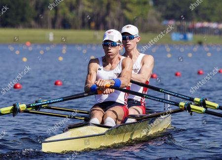 Stock Image of Chris Rogers and Peter Schmidt of Team USA during the (LM2x) Lightweight Men's Double Sculls - Semifinal in the World Rowing Championships being held at Nathan Benderson Park in Sarasota-Bradenton, Florida
