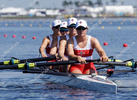 Lisa Roman, Susanne Grainger, Christine Roper and Nicole Hare of Team Canada during the (W4-) Women's Four - Repechage in the World Rowing Championships being held at Nathan Benderson Park in Sarasota-Bradenton, Florida