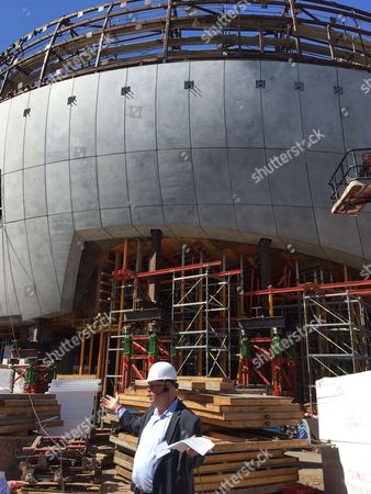 Rich Cherry, Chief Operating Officer of the Academy Museum of Motion Pictures, stands at the construction site of their new museum under construction, at a media tour, in Los Angeles. The Academy is naming its main building in honor of Cheryl and Haim Saban, who donated $50 million to the project