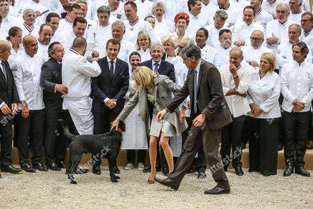 Emmanuel Macron, Brigitte Trogneux, Olivier Ginon, Gerard Collomb, Guillaume Gomez, Jean-Yves Le Drian, Guy Savoy