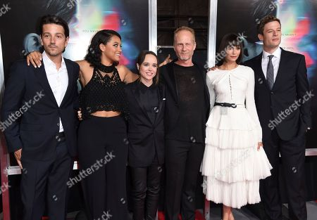 """Diego Luna, Kiersey Clemons, Elliot Page, Niels Arden Oplev, Nina Dobrev, James Norton. Diego Luna, from left, Kiersey Clemons, Elliot Page, director Niels Arden Oplev, Nina Dobrev and James Norton arrive at the world premiere of """"Flatliners"""" at The Theatre at Ace Hotel, in Los Angeles"""