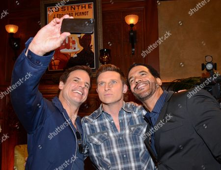 """Christian Le Blanc, Steve Burton, and Kristoff St. John pose for a selfie at """"The Young And The Restless"""" 41st Anniversary,, in Los Angeles"""