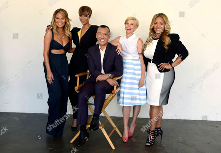 "Chrissy Teigen, from left, Tyra Banks, Joe Zee, Leah Ashley and Lauren Makk, hosts of the lifestyle talk show ""FABLife,"" pose together for a portrait at the 2015 Television Critics Association Summer Press Tour at the Beverly Hilton, in Beverly Hills, Calif"
