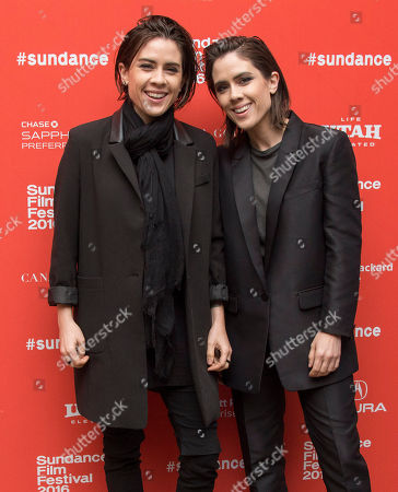 "Musicians Tegan Rain Quin, left, and Sara Keirsten Quin of Tegan and Sara pose at the premiere of ""The Intervention"" during the 2016 Sundance Film Festival, in Park City, Utah"