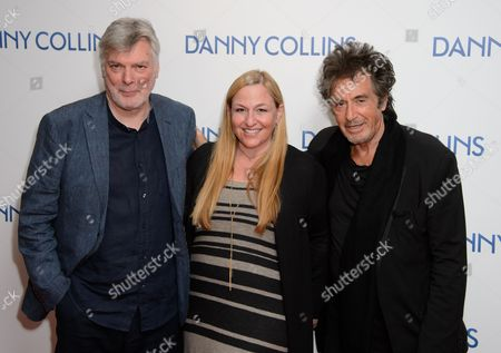 Steve Tilston, Monica Levinson, Al Pacino pose for photographers at the UK Premiere of Danny Collins at a central London cinema