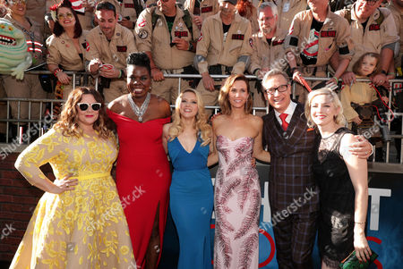 Melissa McCarthy, Leslie Jones, Kate McKinnon, Kristen Wiig, Paul Feig, and Katie Dippold are seen at the Los Angeles Premiere of Columbia Pictures' Ghostbusters at TCL Chinese Theatre, in Los Angeles