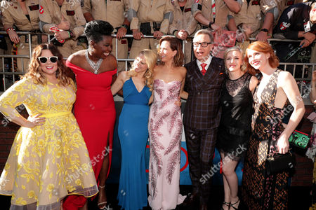 Melissa McCarthy, Leslie Jones, Kate McKinnon, Kristen Wiig, Paul Feig, Katie Dippold, and Jessie Henderson are seen at the Los Angeles Premiere of Columbia Pictures' Ghostbusters at TCL Chinese Theatre, in Los Angeles