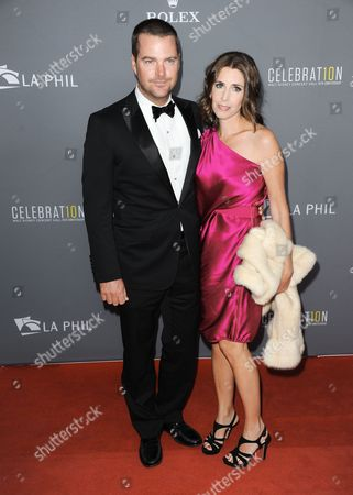 Chris O'Donnell, left, and Caroline Fentress arrive at the LA Philharmonic's Walt Disney Hall 10th Anniversary Celebration at Walt Disney Concert Hall on in Los Angeles