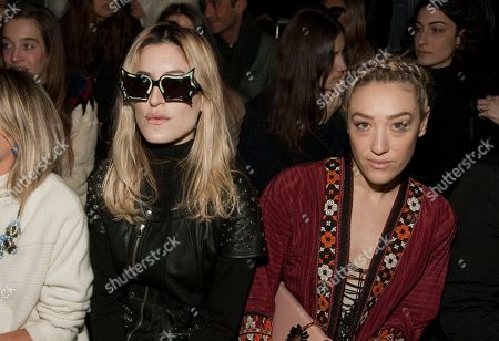 Musicians Ioanna Gika, left, and Mia Moretti, right, attend the MBFW 2014 Fall/Winter Diesel Black Gold fashion show, on in New York