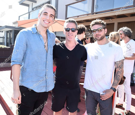 From left to right, Nick Simmons, Scott Lipps, and actor Ryan Phillippe at the One Model Management 4th of July Weekend Party at the Kia Beach House on in Malibu, Calif