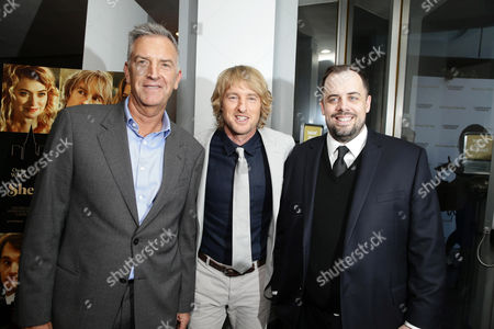 Steve Beeks, Co-Chief Operating Officer and President, Lionsgate, Owen Wilson and Jean McDowell, SVP of Marketing and Research, Lionsgate, seen at Los Angeles Premiere of Lionsgate Premiere '˜She's Funny That Way' at Harmony Gold Theatre, in Los Angeles, CA