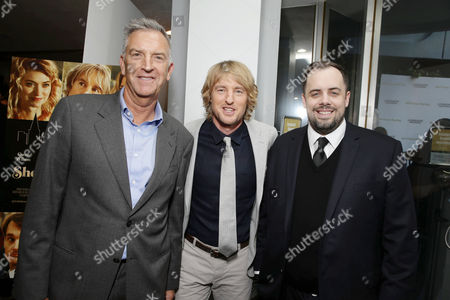 Steve Beeks, Co-Chief Operating Officer and President, Lionsgate, Owen Wilson and Jean McDowell, SVP of Marketing and Research, Lionsgate, seen at Los Angeles Premiere of Lionsgate Premiere â?˜She's Funny That Way' at Harmony Gold Theatre, in Los Angeles, CA