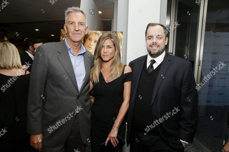 Steve Beeks, Co-Chief Operating Officer and President, Lionsgate, Jennifer Aniston and Jean McDowell, SVP of Marketing and Research, Lionsgate, seen at Los Angeles Premiere of Lionsgate Premiere â?˜She's Funny That Way' at Harmony Gold Theatre, in Los Angeles, CA