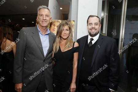 Steve Beeks, Co-Chief Operating Officer and President, Lionsgate, Jennifer Aniston and Jean McDowell, SVP of Marketing and Research, Lionsgate, seen at Los Angeles Premiere of Lionsgate Premiere â?˜Sheâ?™s Funny That Wayâ?™ at Harmony Gold Theatre, in Los Angeles, CA