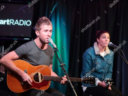 Danny Bemrose, left, and Aimee Driver of the band Scars on 45 visit the Mix 106 Performance Theater, in Philadelphia