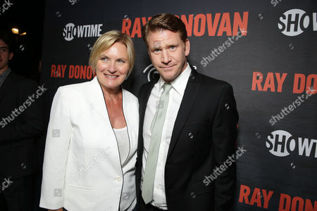 Denise Crosby and Dash Mihok pictured at SHOWTIME and Time Warner Cable's Ray Donovan Season 2 premiere on Wednesday, July 9 at Nobu in Malibu, Calif