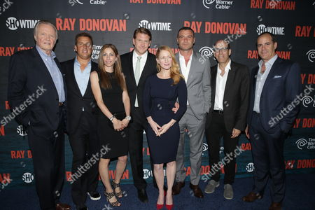 Stock Image of Jon Voight, Jeff Hirsch, CMO Time Warner Cable, Joan Titens, SVP, Brand Strategy & Marketing Communications at Time Warner Cable, Dash Mihok, Paula Malcomson, Liev Schreiber, Matthew C. Blank, Chairman and CEO, Showtime Networks, Inc., and David Nevins, President Showtime Networks, Inc. at SHOWTIME and Time Warner Cable's Ray Donovan Season 2 premiere on Wednesday, July 9 at Nobu in Malibu, Calif
