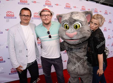 """From left to right, CEO and Co-Founder of Outfit7 Limited Samo Login, actor James Adomian, Talking Tom, and omedian Maria Bamford attend the premiere screening of the """"Talking Tom and Friends"""" animated series at YouTube Space LA on in Los Angeles. The series debuts today on YouTube"""