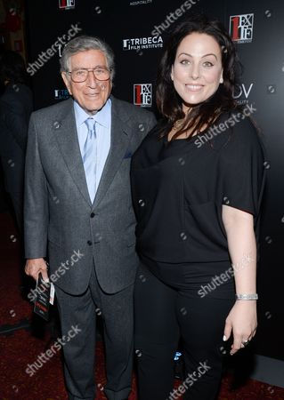"""First Time Fest co-founder Johanna Bennett, right, and her father Tony Bennett attend the 20th anniversary screening of """"A Bronx Tale"""" presented by First Time Fest and Tribeca Film Institute, in New York"""
