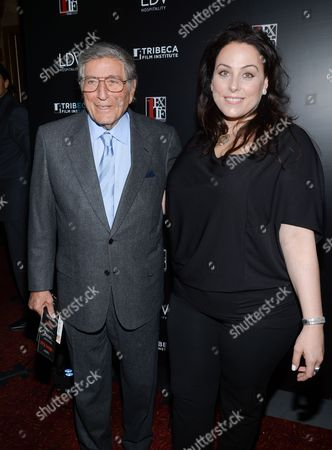 """First Time Fest co-founder Johanna Bennett and her father Tony Bennett attend the 20th anniversary screening of """"A Bronx Tale"""" presented by First Time Fest and Tribeca Film Institute on in New York"""