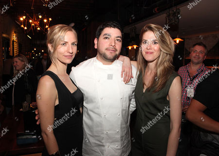 Mickey Sumner, Chef Robert Liberato and Lucy Owen seen at Mend SXSW After-party at Supper Suite By STK hosted by Blue Moon Brewing Co. on in Austin, Texas