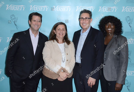 Stock Image of UNIVERSAL CITY, CA - MARCH 21: (L-R) Michael Wright, Susanne Daniels, Marc Juris and Loretha Jones attend the 2013 TV Summit Presented by Variety and the Academy of Television Arts & Sciences Foundation at the Sheraton Universal Hotel on in Universal City, California