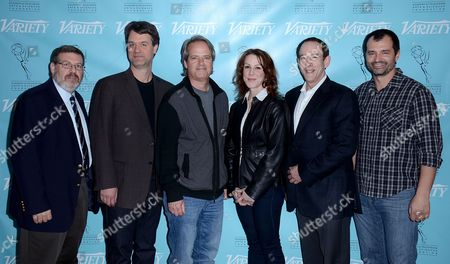 UNIVERSAL CITY, CA - MARCH 21: (L-R) Greg Yaitanes, Kevin Murphy, Graham Yost, Janet Tamaro, James Duff, Brian Lowry attend the 2013 TV Summit Presented by Variety and the Academy of Television Arts & Sciences Foundation at the Sheraton Universal Hotel on in Universal City, California