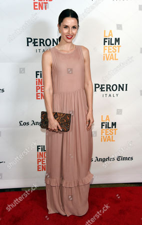 """Alona Tal, a cast member in """"Opening Night,"""" poses at the premiere of the film during the Los Angeles Film Festival at the Arclight Culver City, in Culver City, Calif"""