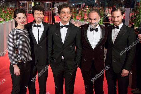 From left, Sophie Charlotte Conrad, Jesuita Barbosa, Wagner Moura, Karim Ainouz and Clemens Schick on the red carpet for the film Praia Do Futuro during the 64th Berlinale International Film Festival, in Berlin