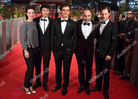 Stock Photo of From left, Sophie Charlotte Conrad, Jesuita Barbosa, Wagner Moura, Karim Ainouz and Clemens Schick on the red carpet for the film Praia Do Futuro during the 64th Berlinale International Film Festival, in Berlin