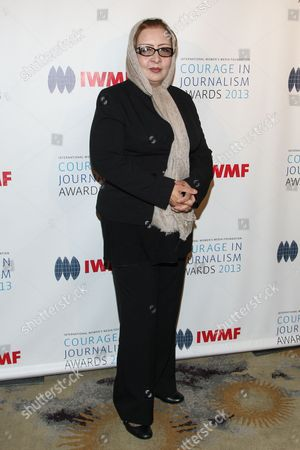Honoree Najiba Ayubi arrives at the International Women's Media Foundation's 2013 Courage in Journalism Awards at The Beverly Hills Hotel on in Beverly Hills, Calif