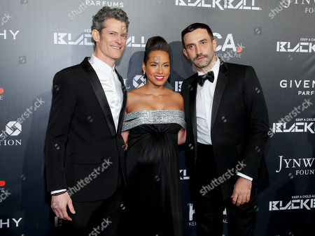 Peter Twyman, CEO of Keep a Child Alive, from left, Alicia Keys and Riccardo Tisci attend Keep a Child Alive's 2014 Black Ball at the Hammerstein Ballroom, in New York