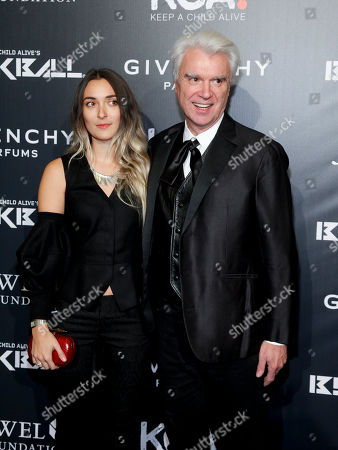 Malu Byrne, left, and David Byrne, right, attend Keep a Child Alive's 2014 Black Ball at the Hammerstein Ballroom, in New York