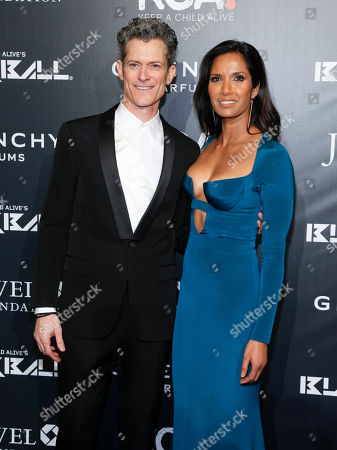 Peter Twyman, CEO of Keep a Child Alive, left, and Padma Lakshmi, right, attend Keep a Child Alive's 2014 Black Ball at the Hammerstein Ballroom, in New York