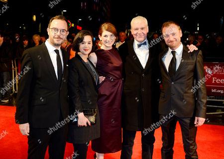 Glenn Leyburn, Lisa Barros, Jodie Whittaker, Terri Hooley, Richard Dormer poses at London Film Festival The Mayfair Hotel Gala - Good Vibrations at Odeon West End on in London