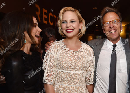 """Abigail Spencer, and from left, Adelaide Clemens and executive producer Mark Johnson attend the premiere of SundanceTV's """"Rectify"""" season 2, in Los Angeles"""