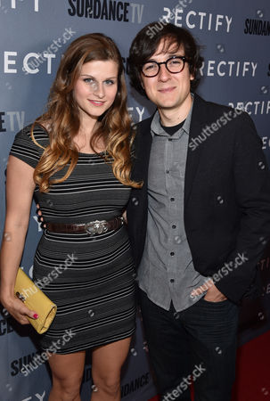"""Meghan Falcone, left, and Josh Brener attend the premiere of SundanceTV's """"Rectify"""" season 2, in Los Angeles"""