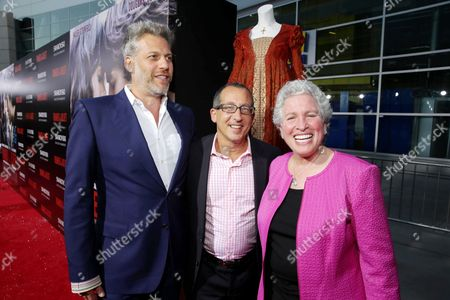 From left, producers Lawrence Elman, Philip Alberstat and Ileen Maise attend the premiere of Swarovski Entertainment's first film ROMEO & JULIET, distributed by Relativity Media and in theaters nationwide October 11th on in Hollywood, Calif