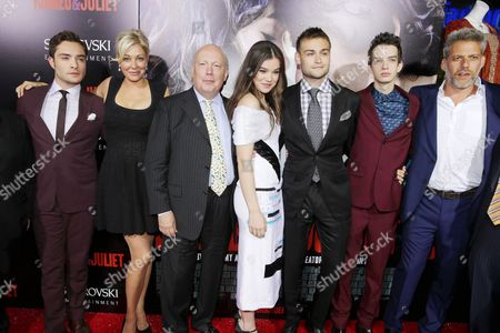 From left, Ed Westwick, producer Nadja Swarovski, screenwriter Julian Fellowes, Hailee Steinfeld, Douglas Booth, Kodi Smit-McPhee and producer Lawrence Elman attend the premiere of Swarovski Entertainment's first film ROMEO & JULIET, distributed by Relativity Media and in theaters nationwide October 11th on in Hollywood, Calif