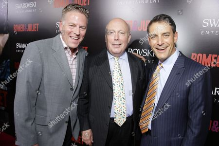 Stock Photo of From left, producer Andrew Spaulding, screenwriter Julian Fellowes, and producer Doug Mankoff attend the premiere of Swarovski Entertainment's first film ROMEO & JULIET, distributed by Relativity Media and in theaters nationwide October 11th on in Hollywood, Calif