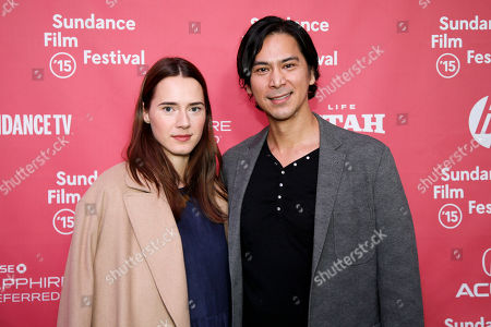 "Actress Caren Pistorius, left, and actor Kalani Queypo pose at the premiere of ""Slow West"" during the 2015 Sundance Film Festival, in Park City, Utah"
