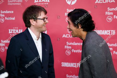 "Writer and director John MacLean, left, and actor Kalani Queypo, right, talk at the premiere of ""Slow West"" during the 2015 Sundance Film Festival, in Park City, Utah"