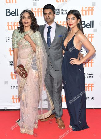 Priyanka Bose, from left, Divian Ladwa and Pallavi Sharda arrive at the â?oeLionâ?? premiere on day 3 of the Toronto International Film Festival at the Princess of Wales Theatre, in Toronto