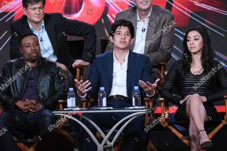 """Actors Justin Hires, from left, Jon Foo and Aimee Garcia participate in the """"Rush Hour"""" panel at the CBS 2016 Winter TCA, in Pasadena, Calif"""