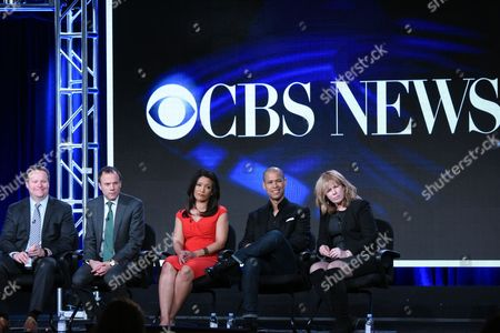 "Vice President of programming CBS News Chris Licht, from left, President CBS News David Rhodes, correspondents Elaine Quijano, Vladimir Duthiers and execute producer Nancy Lane participate in the ""CBSN"" panel at the CBS 2016 Winter TCA, in Pasadena, Calif"