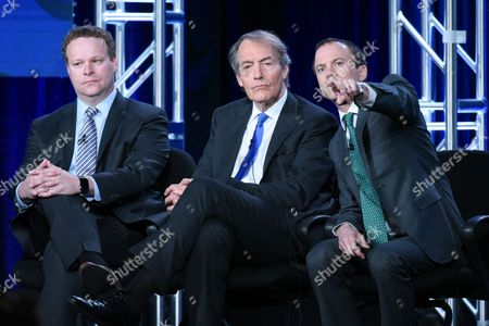 """Vice President of Programming, CBS News, Chris Licht, from left, host Charlie Rose and President, CBS News David Rhodes, participate in the """"CBS This Morning"""" panel at the CBS 2016 Winter TCA, in Pasadena, Calif"""