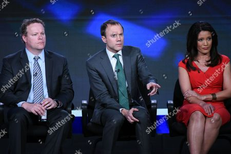 "Vice President of Programming, CBS News, Chris Licht, from left, President, CBS News, David Rhodes and correspondent Elaine Quijano participate in the ""CBSN"" panel at the CBS 2016 Winter TCA, in Pasadena, Calif"
