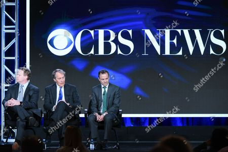 """Vice President of programming CBS News Chris Licht, from left, Host Charlie Rose and President CBS News David Rhodes participate in the """"CBS This Morning"""" panel at the CBS 2016 Winter TCA, in Pasadena, Calif"""